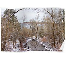 Winter Creek Red Rock Scenic Landscape View Poster