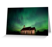 Country Church and Northern Lights Greeting Card