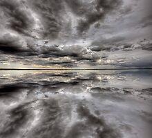 Saskatchewan Lake Reflection Chaplin Canada clouds by pictureguy