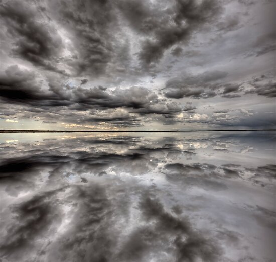 Saskatchewan Lake Reflection Chaplin Canada clouds by pictureguy