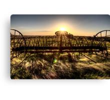 Antique Farm Equipment sunset Saskatchewan Canada Canvas Print