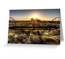 Antique Farm Equipment sunset Saskatchewan Canada Greeting Card