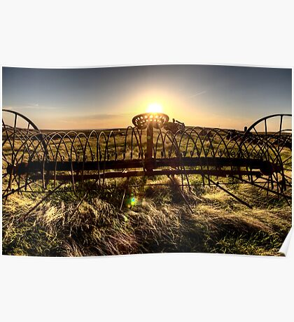 Antique Farm Equipment sunset Saskatchewan Canada Poster