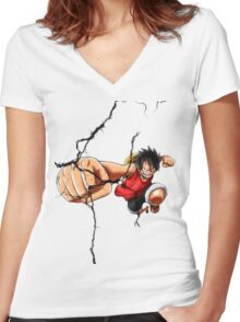 Luffy - Cracked Women's Fitted V-Neck T-Shirt