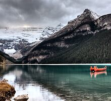 Lake Louise Glacier  canoe and emerald color by pictureguy