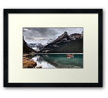Lake Louise Glacier  canoe and emerald color Framed Print