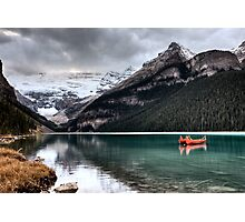 Lake Louise Glacier  canoe and emerald color Photographic Print