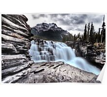 Athabasca Waterfall Alberta Canada river flow and blurred water Poster