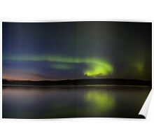 Night Shot Northern Lights Saskatchewan Canada Poster
