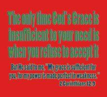 God's sufficient grace, 2cor 12:9 Kids Clothes