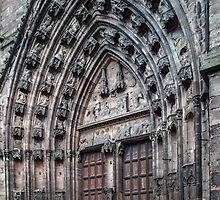 Main door Rodez Cathedral 198402280067  by Fred Mitchell