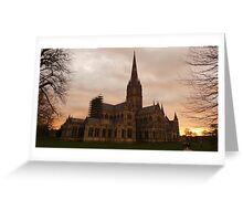 Sunset at Salisbury Cathedral Greeting Card