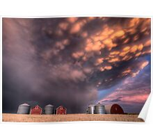 Sunset Storm Clouds Canada lightning granary Saskatchewan Poster