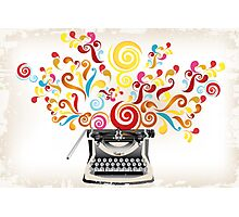 Creativity - typewriter with abstract swirls Photographic Print