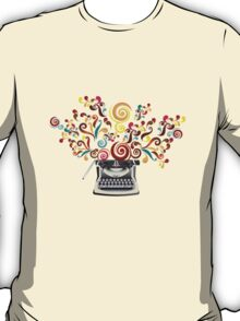 Creativity - typewriter with abstract swirls T-Shirt