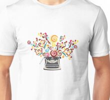 Creativity - typewriter with abstract swirls Unisex T-Shirt