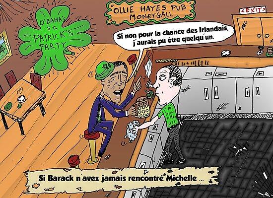 Caricature Obama Saint Patrick Chance Irlandais by Binary-Options