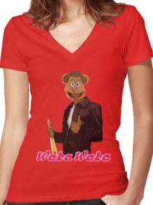 Fonzie Bear Waka Waka Women's Fitted V-Neck T-Shirt