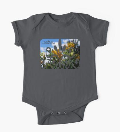 clouds behind yellow flowers One Piece - Short Sleeve