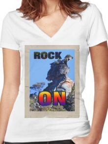 ROCK ON Women's Fitted V-Neck T-Shirt