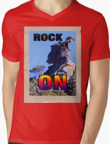 ROCK ON Mens V-Neck T-Shirt