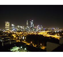 Perth by night from Kings Park Photographic Print