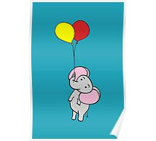 Elephant Turquoise Poster