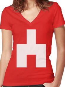 Black Mirror - White Bear Women's Fitted V-Neck T-Shirt
