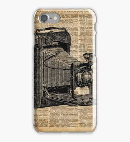Antique Conley Camera on a Vintage Encyclopedia Background iPhone Case/Skin