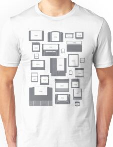 History of Video Game Cartridges 1977-2011 (Grey on White) Unisex T-Shirt