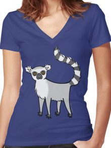 Ring Tailed Lemur Women's Fitted V-Neck T-Shirt