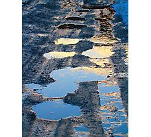 Semi Frozen Mud Puddles at Sunset Photographic Print