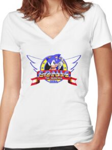 SONIC TITLE SCREEN Women's Fitted V-Neck T-Shirt
