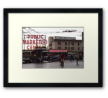 Pike's Public Market Entrance at Dusk - Ta-dah! Framed Print