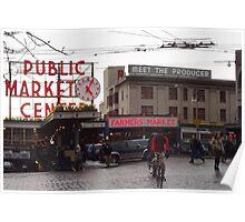 Pike's Public Market Entrance at Dusk - Ta-dah! Poster