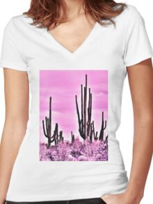 Wild Cactus Women's Fitted V-Neck T-Shirt