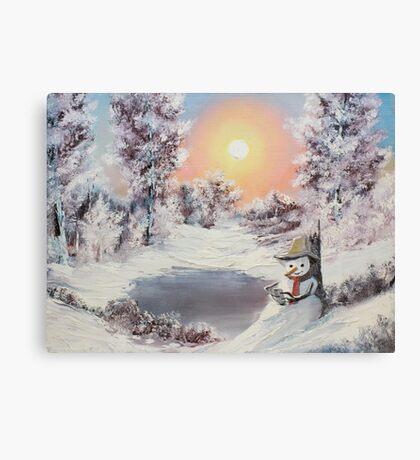 Snowman online Canvas Print