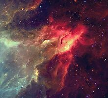 Red And Light Blue Nebula by Claire1412