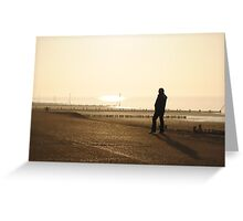 Man Admiring the Sea View in the Sunset Greeting Card