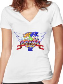 SONIC 2 TITLE SCREEN Women's Fitted V-Neck T-Shirt