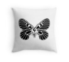 Butter-fluffy-Fly  / black on white Throw Pillow
