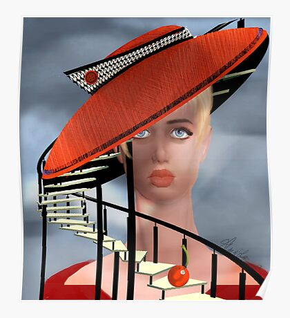 Girl and a Cherry Staircase Poster