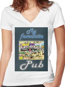MY FAVOURITE PUB Women's Fitted V-Neck T-Shirt