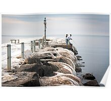 Fishing The Iced Pier Poster