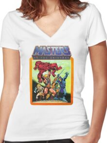 He-Man Masters of the Universe Battle Scene Women's Fitted V-Neck T-Shirt