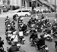 BKK two wheels traffic by Jean-Michel Dixte