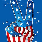 American Patriotic Victory Peace Hand Fingers Sign iPhone Case / iPad Case / T-Shirt / Samsung Galaxy Cases  / Pillow / Tote Bag by CroDesign