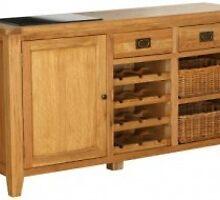 Vancouver Oak 1 Door 2 Drawer 2 Basket Drawer Buffet with Wine Rack by furnituregeeks