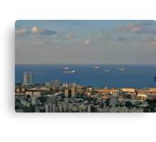 Sailing from  Haifa Bay Canvas Print