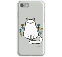 White Odd Eyed Cat with Flowers iPhone Case/Skin